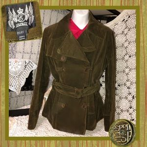Espirit Olive Velvet Double Breasted Coat Size M